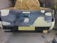Rear view of pickup prepared ready for painting